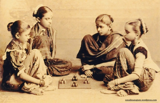 Young girls playing chaupat, precursor to Ludo (Hemlata Jain: Raja Deen Dayal)