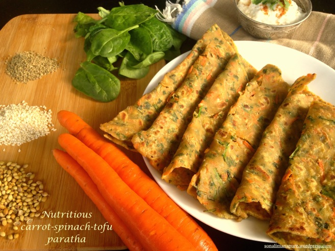 Carrot-Spinach-Tofu Paratha (pan-fried flatbread)