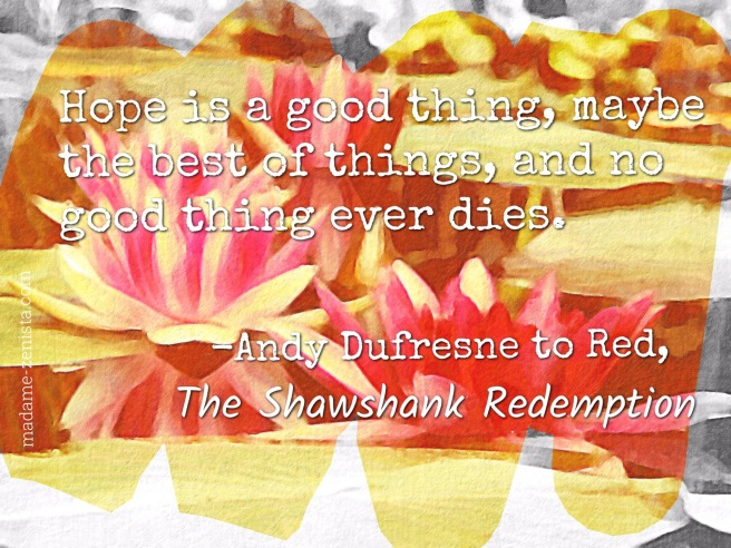 Hope is a good thing, maybe the best of things, and no good thing ever dies. Inspiring story of hope. Quote form the Shawshank Redemption by Andy Dufresne to Red.