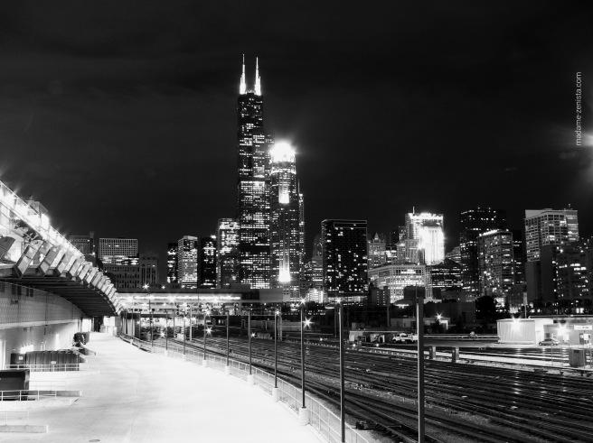 Chicago Skyline, city lights, black and white photography, city, monochrome, madame-zenista.com