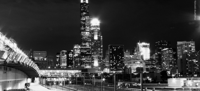 Chicago Skyline, city lights, black and white photography, city, monochrome, madame-zenista.com