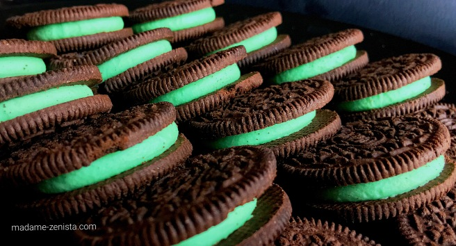 Mint Oreos stacked. Photography. Photos.