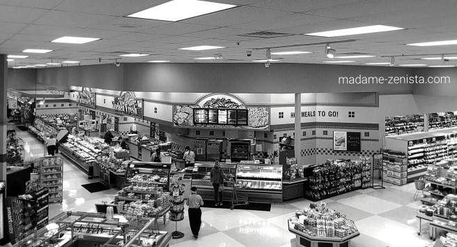 Inside grocery store, black and white, B&W, monochrome,