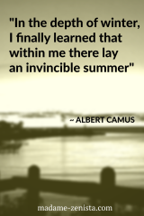 In the depth of winter, I finally learned that within me there lay an invincible summer. Quote by Albert Camus. Inspiring and motivating. 'Option B: Facing Adversity, Building Resilience, And Finding Joy' Book written by Sheryl Sandberg and Adam Grant.